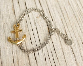 VINGA Anchor bracelet, silver & gold - Silver and gold, one size