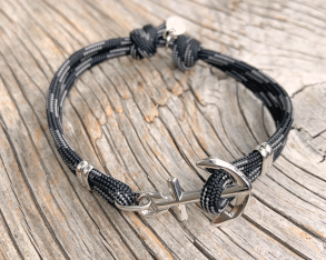 KEY WEST Anchor Bracelet - Carbon Fibre - Herr M/L