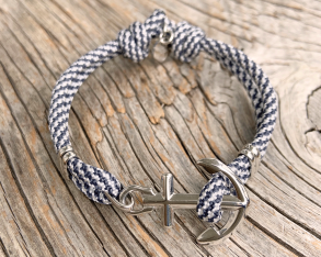 KEY WEST Anchor Bracelet - US Navy & White - S/M