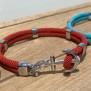 NEW HAVEN Ankararmband - Silver - Röd, custom size, leave wrist size at checkout