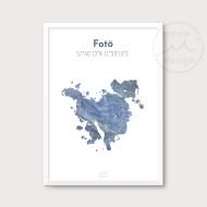 Karta över Fotö - Blå