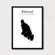 Karta över Kalvsund - Svart
