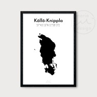 Karta över Källö-Knippla - Svart