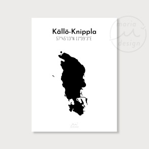Karta över Källö-Knippla - Svart - Karta över Källö-Knippla - svart, A5