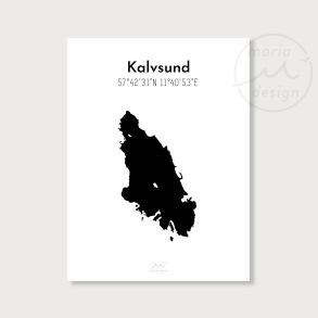 Karta över Kalvsund - Svart - Karta över Kalvsund - svart, A5