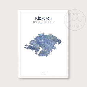 Karta över Klöverön - Blå - Karta över Klöverön - blå marmor, A5