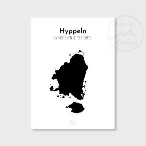 Karta över Hyppeln - Svart - Karta över Hyppeln - svart, A5