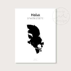Karta över Hälsö - Svart - Karta över Hälsö - svart, A5