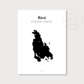 Karta över Rörö - Svart - Karta över Rörö - svart, A5