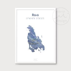 Karta över Rörö - Blå - Karta över Rörö - blå marmor, A5