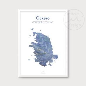 Karta över Öckerö - Blå - Karta över Öckerö - blå marmor, A5