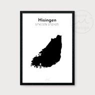 Karta över Hisingen - Svart