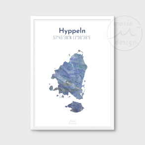 Karta över Hyppeln - Blå - Karta över Hyppeln - blå marmor, A5