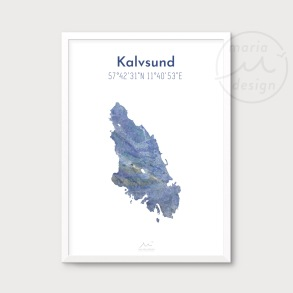 Karta över Kalvsund - Blå - Karta över Kalvsund - blå marmor, A5