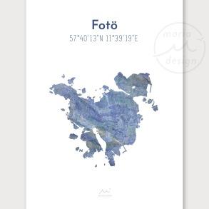 Karta över Fotö - Blå - Karta över Fotö - blå marmor, A5