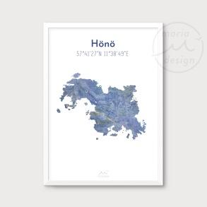 Karta över Hönö - Blå - Karta över Hönö - blå marmor, A5