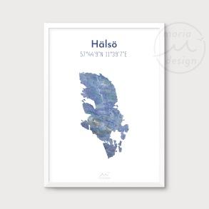 Karta över Hälsö - Blå - Karta över Hälsö - blå marmor, A5