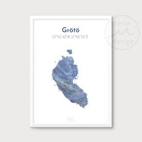 Karta över Grötö - Blå - Karta över Grötö - blå marmor, A5