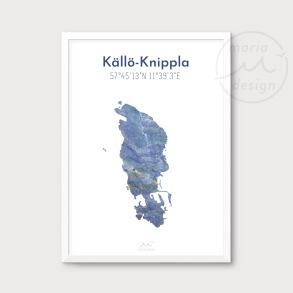 Karta över Källö-Knippla - Blå - Karta över Källö-Knippla - blå marmor, A5