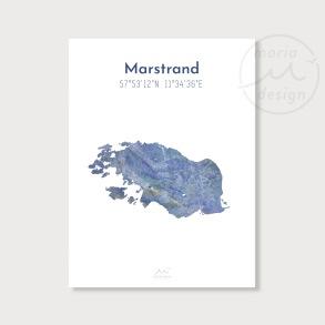 Karta över Marstrand - Blå - Karta över Marstrand - blå marmor, A5