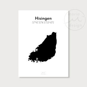 Karta över Hisingen - Svart - Karta över Hisingen - svart, A5