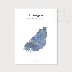 Karta över Hisingen - Blå - Karta över Hisingen - blå marmor, A5
