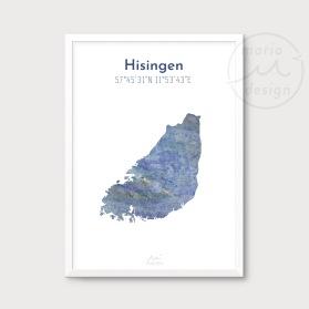 Karta över Hisingen - Blå