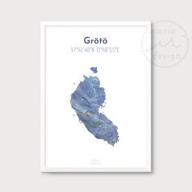Karta över Grötö - Blå