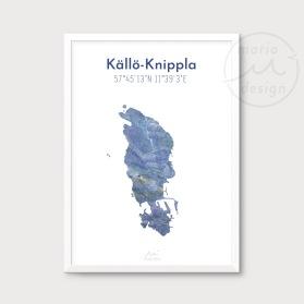 Karta över Källö-Knippla - Blå