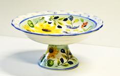 Lena Linderholm keramik Oliver och solros Fat på fot