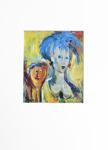 Milan Vobruba kvinna med blått hår 30 x 40 offset