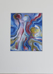 Milan Vobruba Abstrakt blå-vit-vinröd-gul 30 x 40 glaskonst