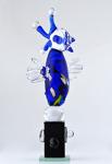 Blå fågel Höjd: 31 cm glasskulptur