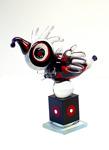 Svart/röd fågel Höjd: 21 cm Glasskulptur