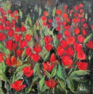 Röda tulpaner 80 x 81 olja på duk