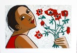Anita Klein Röda blommor 70 x 50 Litografi