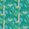Mönstrade Ekologiska trikåtyger - Djungeldjur turkosblå