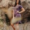 Favoritklänning - Lila Small med peacetryck