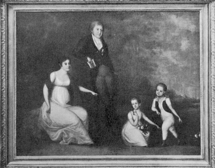 Johanna von Rosen tillsammans med maken och barnen Hedvig och Gustaf Fredrik. Porträtt av okänd konstnär år 1806.