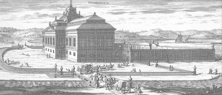 Norsholm avbildat i Erik Dahlberghs praktverk Suecia antiqua et hodierna. Gården är belägen i samhället Norsholm vid Motala ström.
