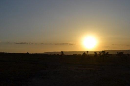 Solnedgång i Masai Mara som inte blir rättvis på bild...