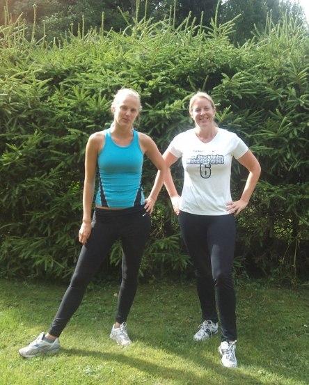 Min syster och jag en av de varma soliga sommardagarna