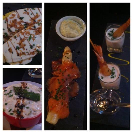 Räkor i parmesancreme, sparris och lax, endive med roqefort-ost, crämig risotto (smakade lite, god!)