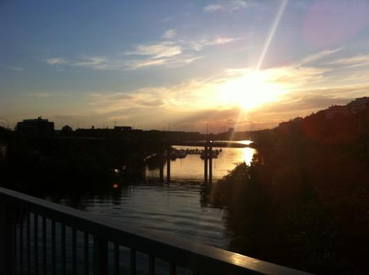 Solnedgång från bron till Lilla Essingen