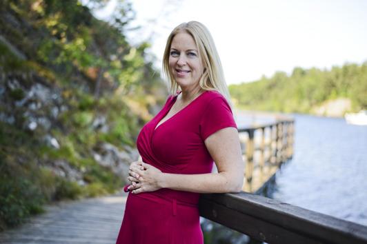 Gravid i 5e månaden på denna bild
