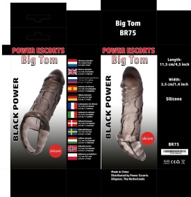 Power Escorts - Black Power - Big Tom - Penis Extender - Penis Sleeve - L 11.5 Cm - D 3.5 Cm