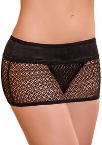 Mini Skirt L/XL attached Thong - Black