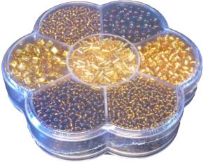 Rocailleset 7-fack sortering - Guldfärgade Pärlor
