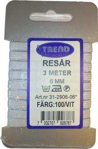 Resårband - Vit Resår 6 mm x 3 meter