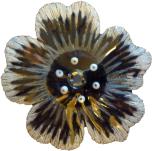 Textilmärke Blomma Svart/Vit/Grå